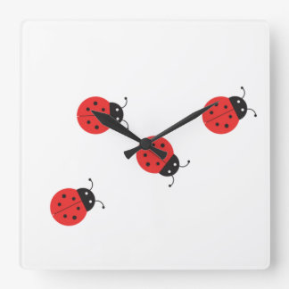 Red and Black Ladybugs Clock