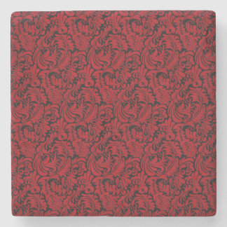 RED AND BLACK LEAFY DESIGN STONE COASTER