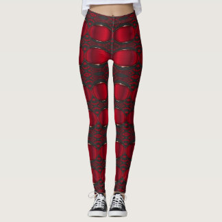 Red and Black Leggings Feature horizontal Stripes