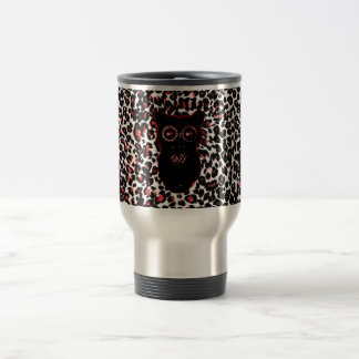 Red and Black Leopard Spots With Owl Mug