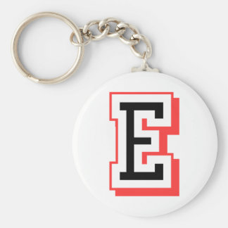 red and black letter E Key Ring