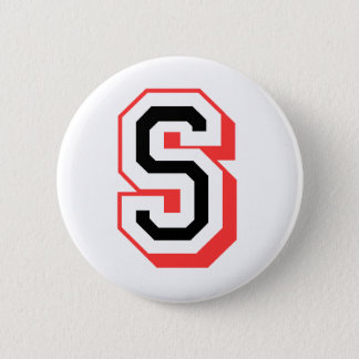 red and black letter S 6 Cm Round Badge