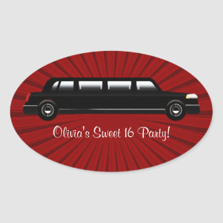 Red and Black Limousine Party Stickers