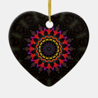 Red and black mandala pattern ceramic heart decoration
