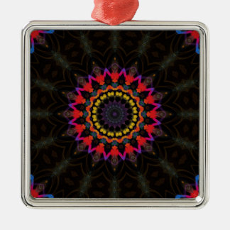 Red and black mandala pattern christmas ornament