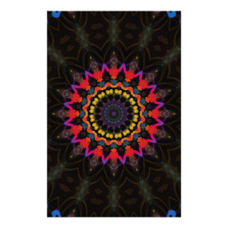 Red and black mandala pattern stationery