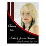 Red and Black Mod Stripes Graduation Postcard