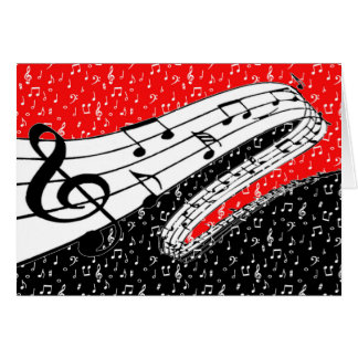 Red and black music theme greeting card