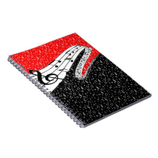 Red and black music theme notebook