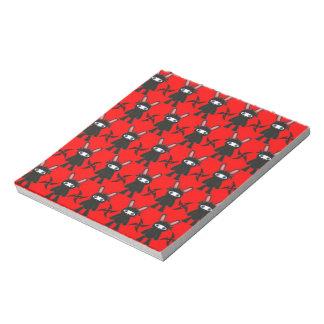 Red and Black Ninja Bunny Pattern Notepad