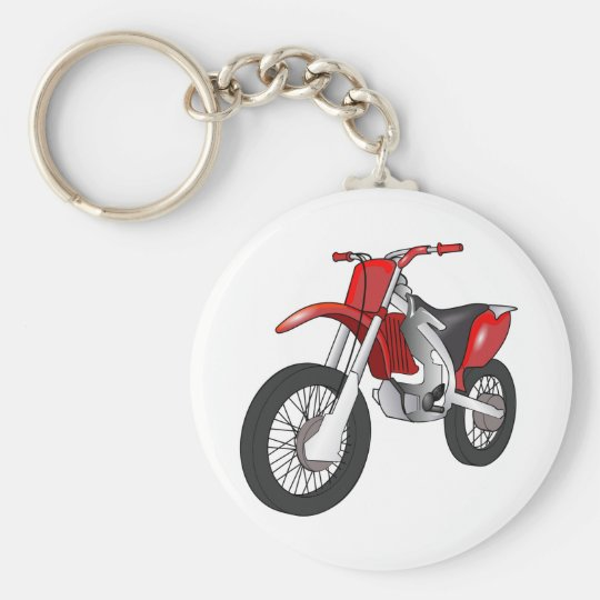 Red and Black Off-Road/Enduro Motorcycle Basic Round Button Key Ring