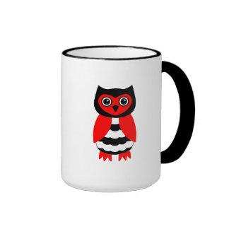 Red and Black Owl Coffee Mugs