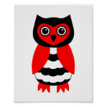 Red and Black Owl Poster