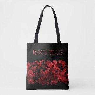 Red and Black Painted Baroque Border with Name Tote Bag