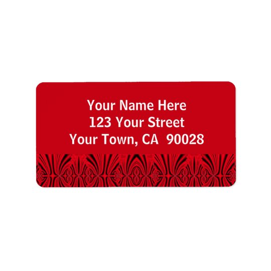 red and black pattern address label