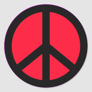 RED AND BLACK PEACE SIGN STICKER