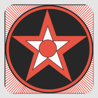 Red And Black Pentacle Star Circle Square Sticker
