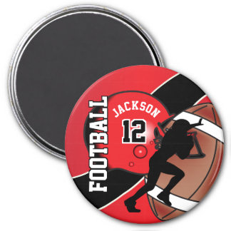 Red and Black Personalize Football Magnet