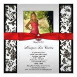 Red and Black Photo Graduation Announcement 13 Cm X 13 Cm Square Invitation Card