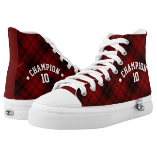 Red and Black Plaid CHAMPION Custom Printed Shoes