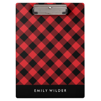 Red and Black Plaid | Custom Monogram Clipboards