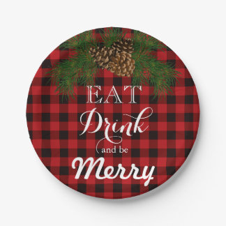 Red and black plaid - Eat Drink and be Merry Paper Plate