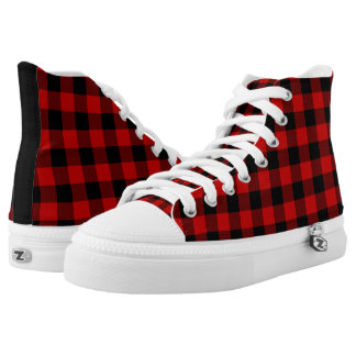 Red and Black Plaid High Tops