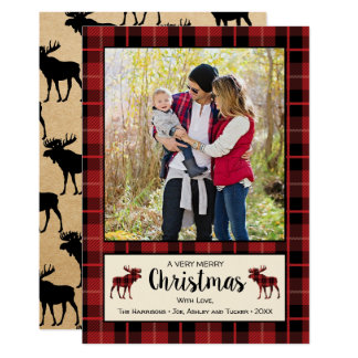 Red and Black Plaid Rustic Christmas Photo Card