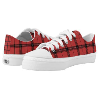 Red and Black Plaid Tartan Holiday Winter Pattern Low Tops