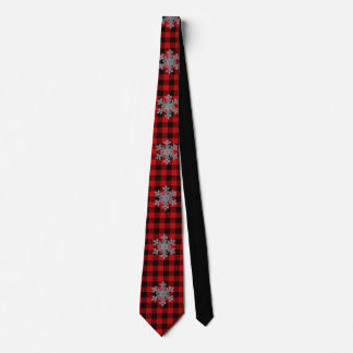 Red and Black plaid with snow flake detail Tie