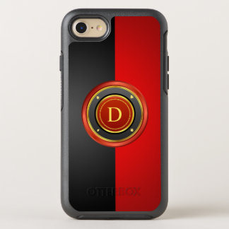 Red and Black Poker Chip with Your Monogram OtterBox Symmetry iPhone 8/7 Case