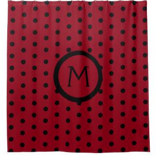 Red and Black Polka Dot Monogram Shower Curtain