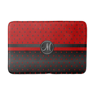 Red and Black Polka Dot Pattern Bath Mat