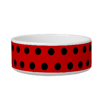 Red and Black Polka Dot Pattern. Spotty. Bowl