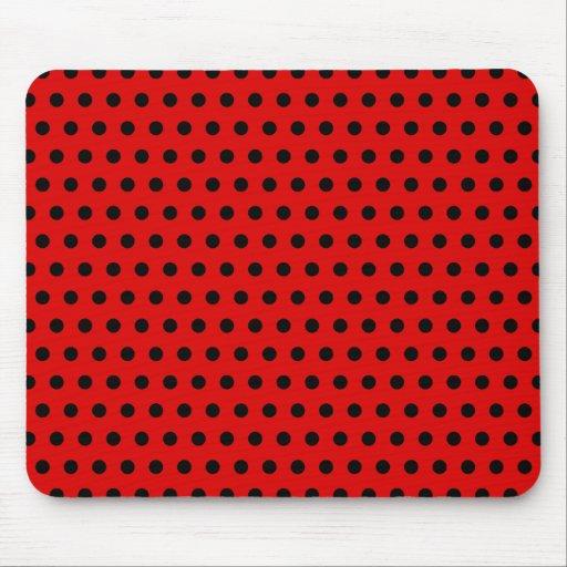 Red and Black Polka Dot Pattern. Spotty. Mousepads