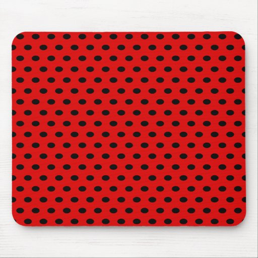 Red and Black Polka Dot Pattern. Spotty. Mouse Pads