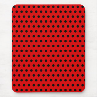 Red and Black Polka Dot Pattern. Spotty. Mouse Pad