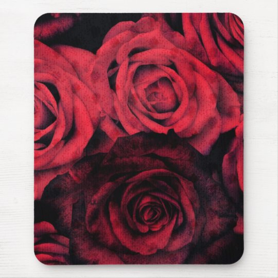 Red and black polka dot roses mouse mat