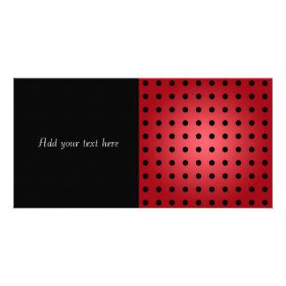 Red and Black Polka Dots Custom Photo Card