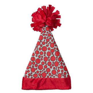 Red and Black Polka Dots Grey Santa Hat