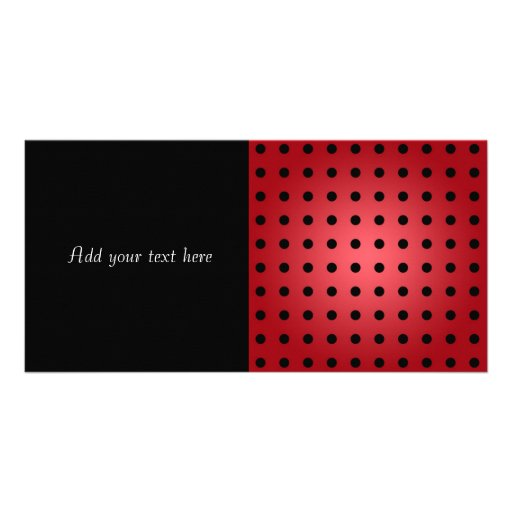 Red and Black Polka Dots Personalized Photo Card