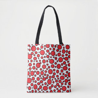 Red and Black Polka Dots Tote Bag
