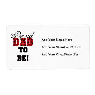 Red and Black Proud Dad to Be Gifts Shipping Label