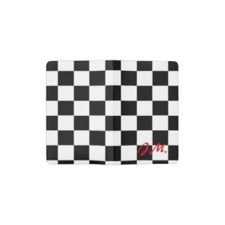 Red and black race flag square pattern pocket moleskine notebook