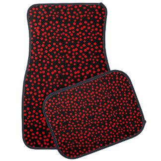 Red and Black Random Polka Dot Spots Car Mat