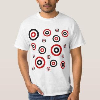 Red and Black Retro circle pattern T-Shirt