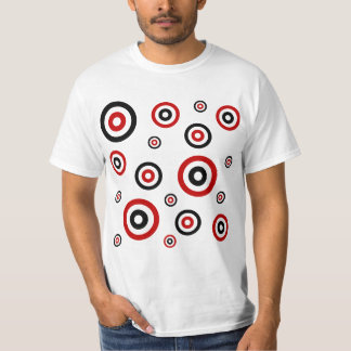 Red and Black Retro circle pattern Tees