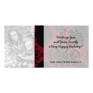 red and black romance diamond damask personalised photo card