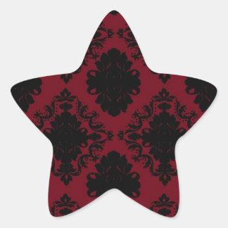 red and black romance diamond damask stickers