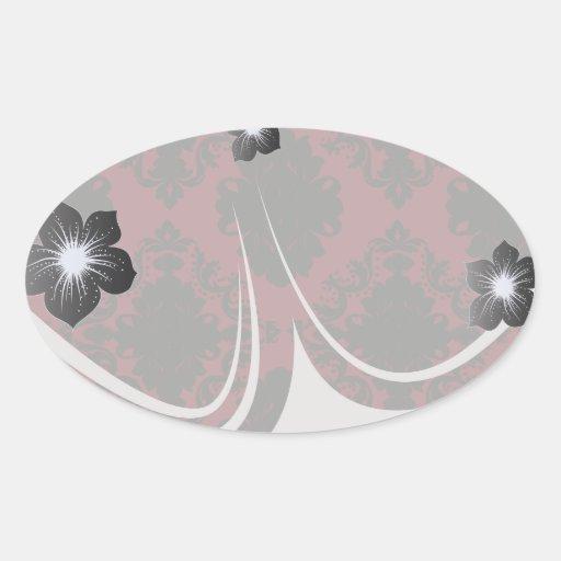 red and black romance diamond damask oval sticker